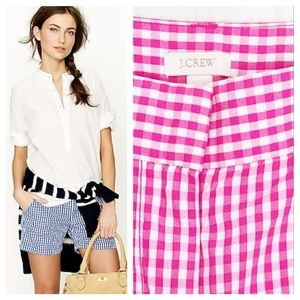 J. Crew Pink and White Gingham Shorts